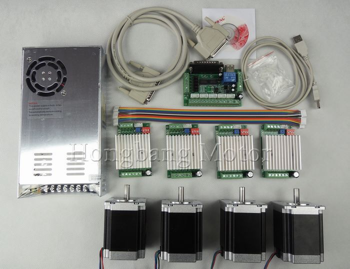 CNC Router Kit 4 Axis, 4pcs TB6600 4.5A stepper motor driver +4pcs Nema23 270 Oz-in motor+ 5 axis interface board+ power supply цена