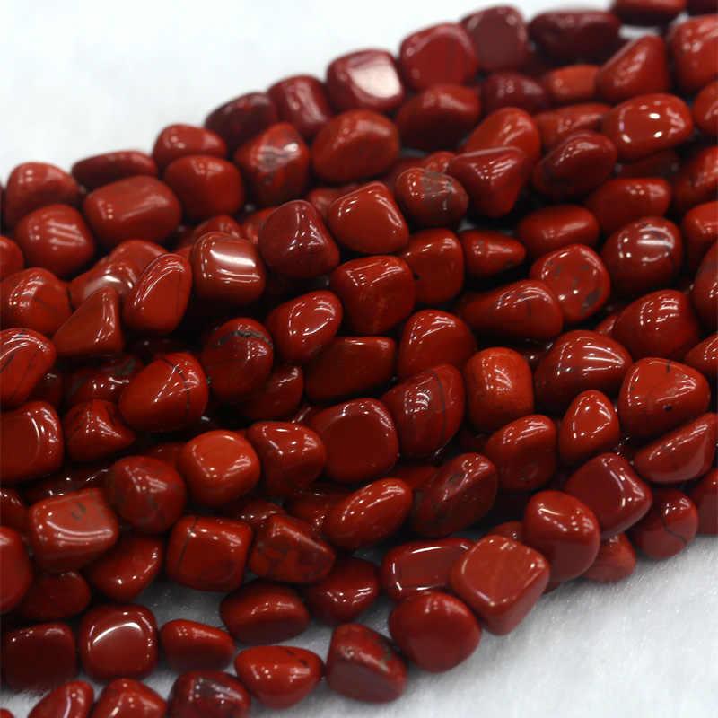 """ขายส่งของแท้สีแดง Jasper สีแดงหิน Nugget ฟรีรูปแบบหลวมเครื่องประดับลูกปัด Fit 15 """"03857"""