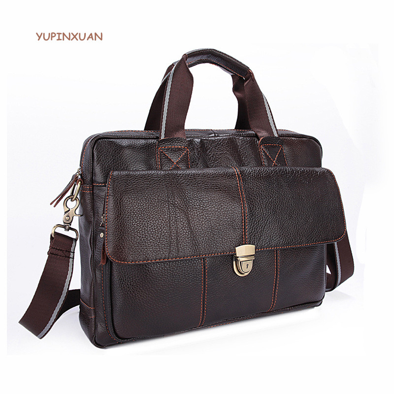 YUPINXUAN 2017 Genuine Leather Messenger Bags for Men Cow Leather Crossbody Bag 14