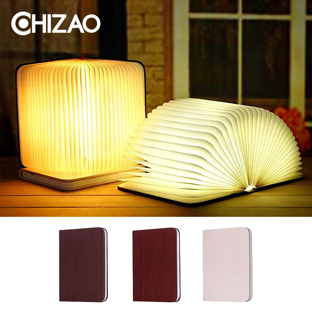 CHIZAO Creative LED Lamp Portable Decorative lights Ambient Light Foldable Led Book Shape Night Table lamp USB Chargeable