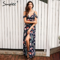 Simplee Cold Shoulder Ruffles Print Chiffon Long Dress Women Strap V Neck Split Backless Maxi Dress