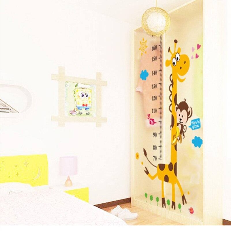 Cartoon Giraffe Height Chart Wall Sticker Kindergarten Wallpaper Decoration  Bedroom Height Ruler Stadiometer Growth Chart Mural  In Hair Clips U0026 Pins  From ...