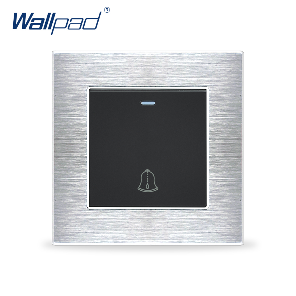 Doorbell Switches Momentrary contact Wallpad Luxury Wall Light Switch Satin Metal Panel Rocker Switches Interrupteur
