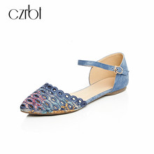CZRBT Womens Flats Casual Shoes 2018 Summer Buckle Strap Print Shoes Plus Size Shallow Sweet Low Heel Comfortable Ladies Shoes