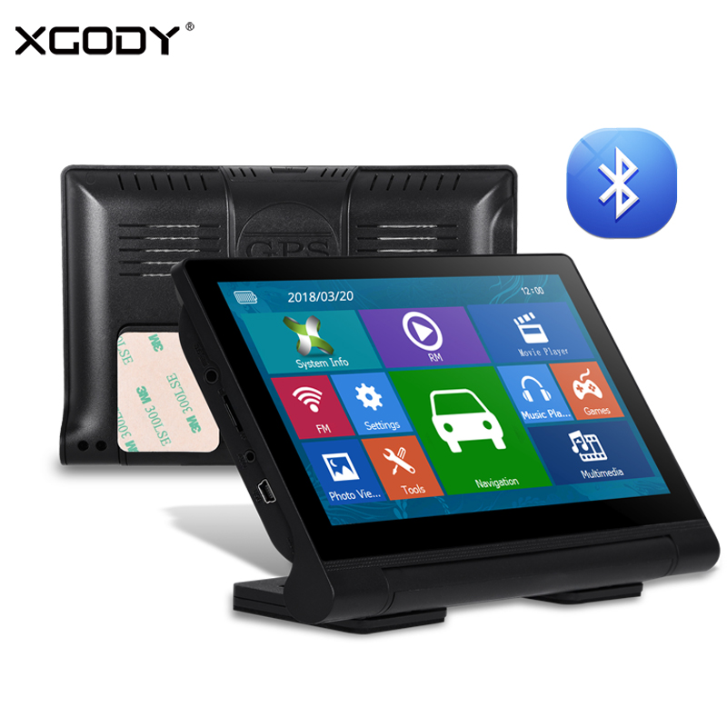 XGODY 709 7 Inch GPS Navigator Touch Screen Truck GPS Navigation Sat Nav Bluetooth 256M RAM 8GB ROM Navitel Europe 2018 Free Map