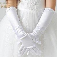 New Retail Art Kids Weiß Stretch Satin Lange Finger Handschuhe für Blumenmädchen Kinder Party Kleid Sicke Handschuhe Mädchen Hochzeit