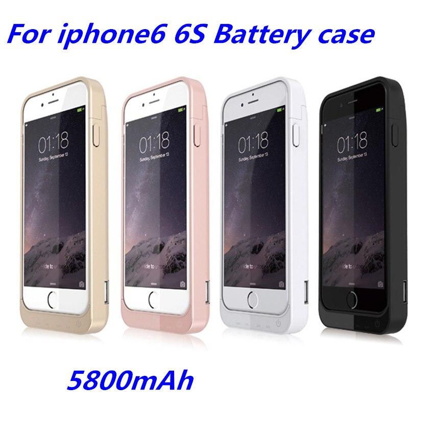imágenes para Envío libre aekuy 5800 mah potencia casos para iphone 6 6s Batería de Reserva Portable del Banco de Potencia de Carga Funda Para El iPhone6 6 s