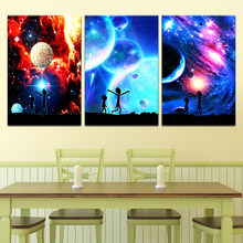 HD Abstract Scenery Picture Wall Poster And Prints 3 Pieces Rick And Morty Modular Cartoon Canvas Painting Frame Decor Kids Room(China)