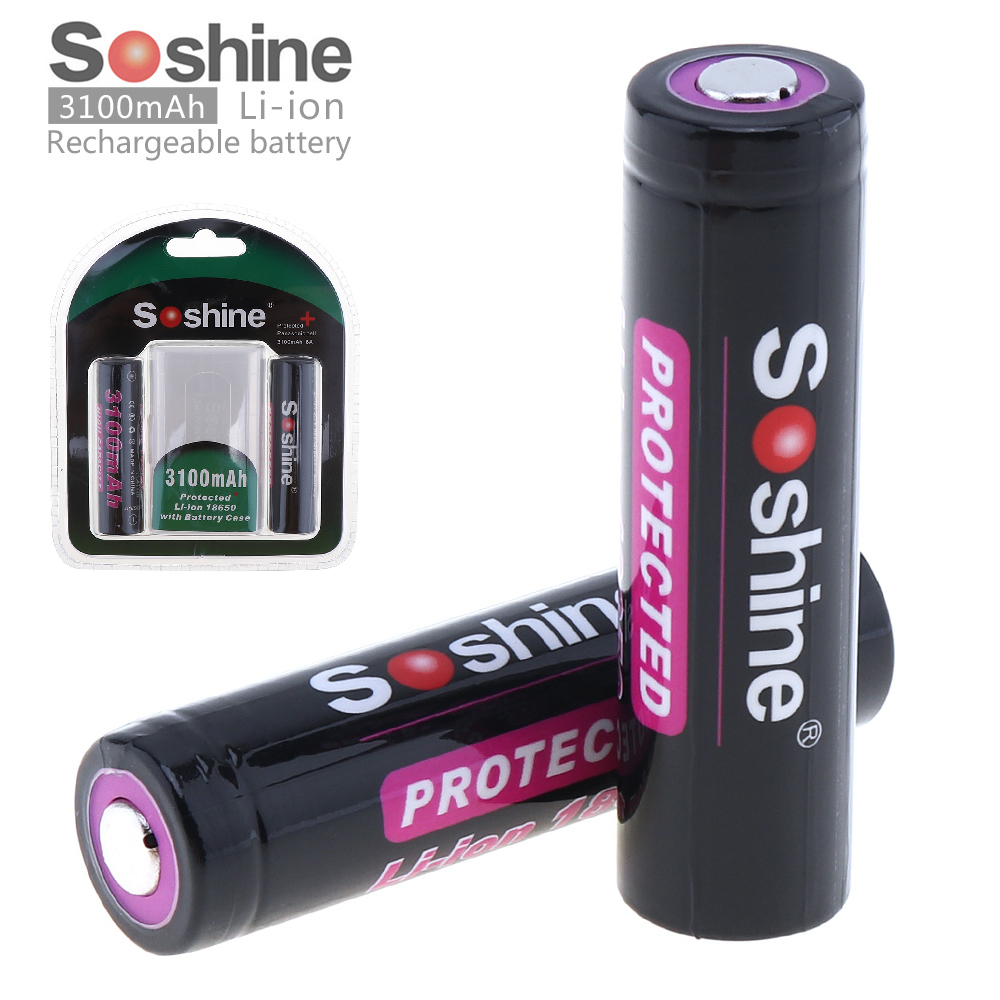 где купить 2pcs/set Soshine 3100mAh 18650 3.7V Li-ion Lithium Rechargeable Battery With Protected PCB + Battery Case дешево