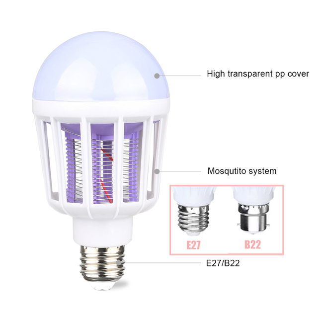 220V LED Mosquito Killer Bulb E27/B22 LED Bulb For Home Lighting Bug Zapper Trap Lamp Insect Anti Mosquito Repeller Light 1