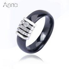 A&N Women Fashion Cubic Zirconia Stone Ring Stainless Steel Ceramic Rings For Women Female 2016 Summer Big Wide Luxury Rings