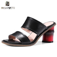Prova Perfetto New Bamboo Heel Slippers Women Zipper Square Toe Sandals Zapatos Mujer Tacon Real Leather High Heels Slipper Shoe