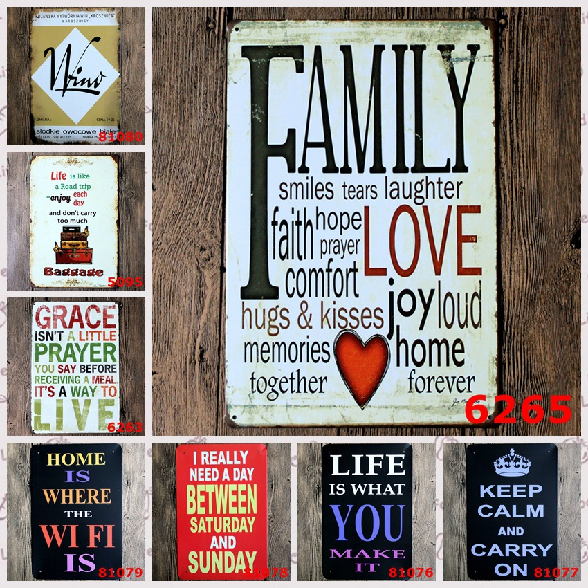 Home Wifi Quote Metal Signs Kitchen Pub Cafe Wall Art Decorative Metal  Plaques Vintage Home Decor