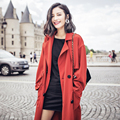 AW001 Autumn 2016 fashion casual loose x long brick red women trench coat oversized
