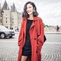 AW001 Outono 2016 moda casual solta x mulheres trench coat longo tijolo vermelho de grandes dimensões