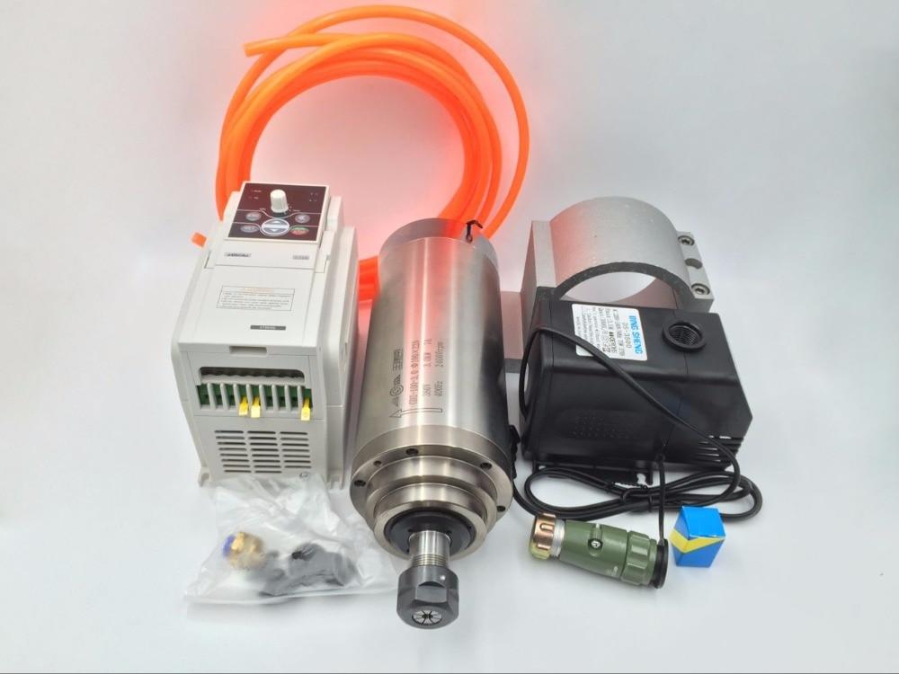 4.5KW Água de refrigeração Do Motor Spindle ER20 380 V 10A 400Hz Fresagem CNC Gravura Eixo + VFD 5.5KW Inversor + Bomba de água/tubulação Kit CNC