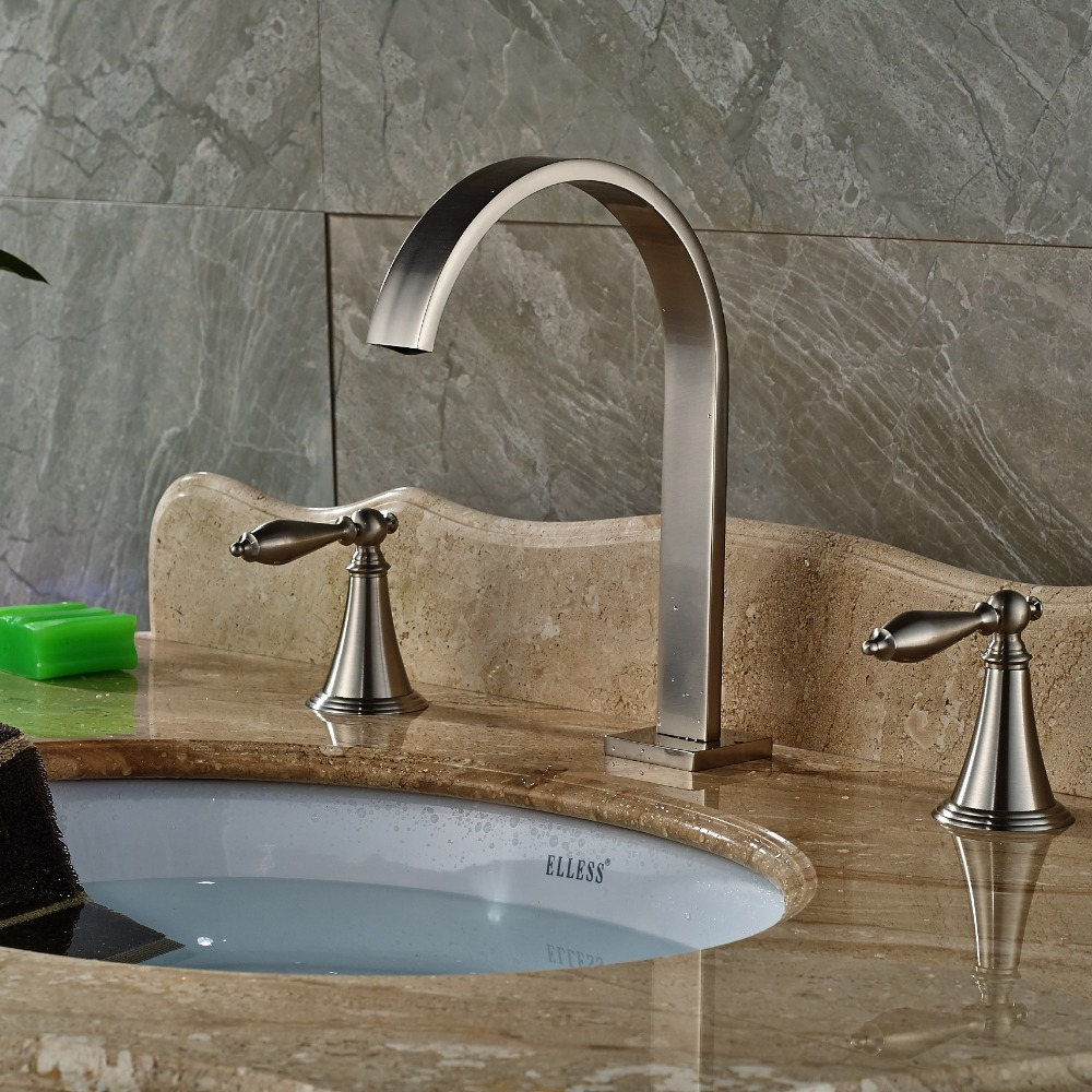 ∞Waterfall Spout Nickel Brushed Bathroom Basin Faucet Dual Handles ...