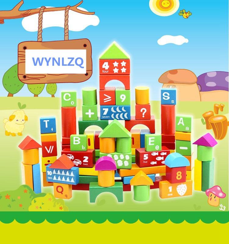 WYNLZQ 100 Pcs/lot jouets en bois numéros bloc jeu éducation cadeaux de noël jouet pour bébé enfants maternelle blocs couleurs - 2