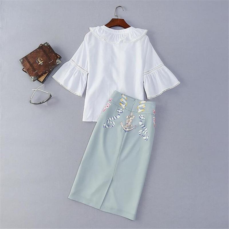 Deux Blue Taille Bureau Pour Costume Jupes Ensembles Top Femelle 2 Travail White Imprimer Blanc A3545 Elegante D'été Pièces De Tops Femmes Usure Skirt Mode BqCBw0