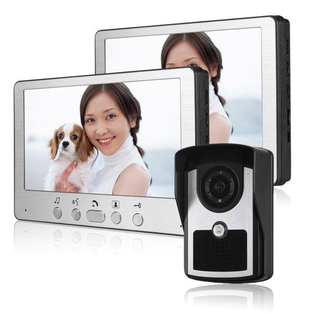 "Doorbell video Wired 7"" Color Video Door Phone intercom System HD Camera Night Vision Doorbell Home Security 1 camera2 monitor"