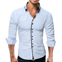 Brand 2017 Fashion Male Shirt Long Sleeves Tops Casual Solid Multi Button Mens Dress Shirts Slim