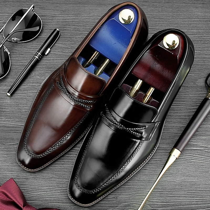 High Quality Round Toe Slip on Man Casual Shoes Genuine Leather Handmade Party Loafers Men
