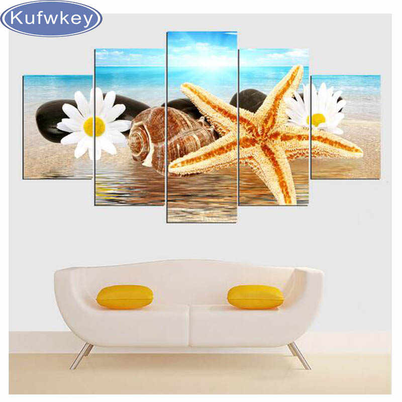 3d DIY Алмазная вышивка крестиком Морская Раковина Морская звезда пейзаж полная картина из хрусталя и алмазов вышивка 5 шт. настенный Декор для дома