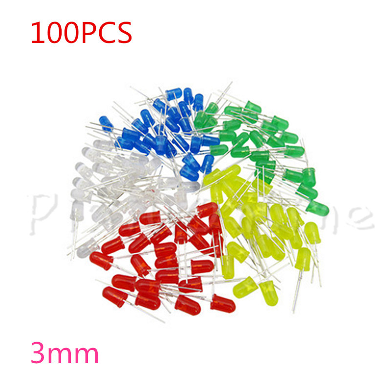 100PCS ST112b 3mm LED Light Emitting Diode Red Green Yellow Blue White Luminous diode LED Component Package Electronic DIY Kit maitech 2 0 x 1 2mm 0805 smd led light emitting diode package black 100 pcs