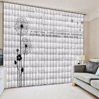 Дома Спальня украшения 3D Шторы модные белые кирпичная стена Одуванчики номер Гостиная офис отель Cortinas 3D Ванная комната