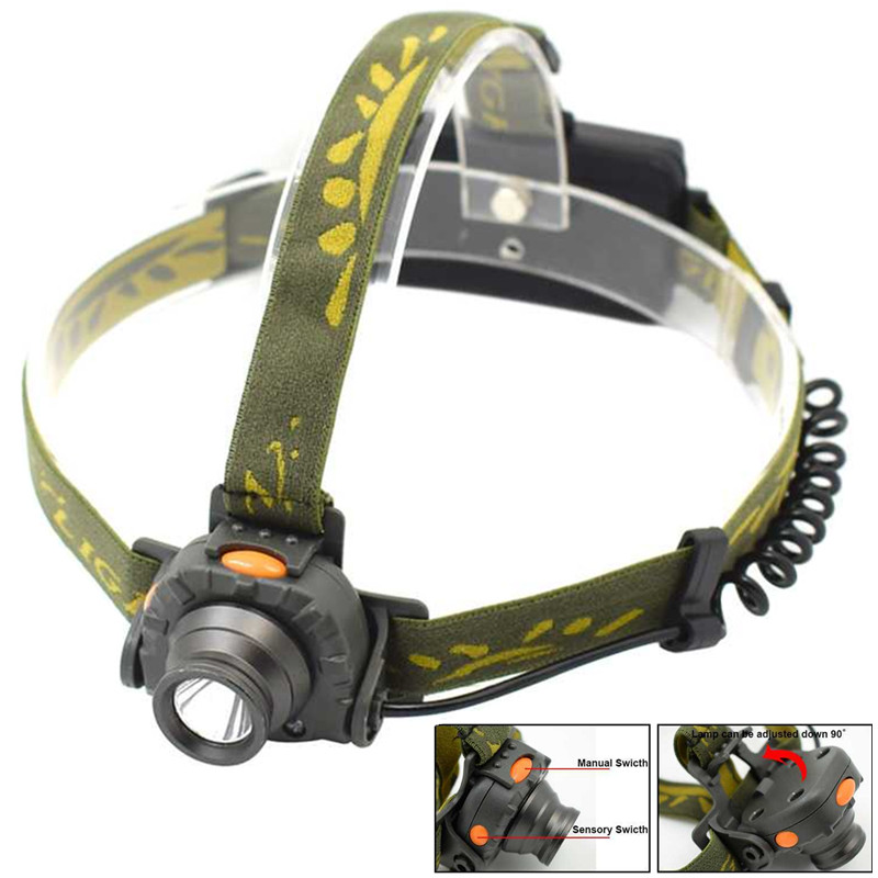 XPE-R3 Powerful LED Head Flashlight Rechargeable Motion Sensor Headlamp Headlight IR Sensors Led Head Lamp Torch Light 18650/aaa r3 2led super bright mini headlamp headlight flashlight torch lamp 4 models
