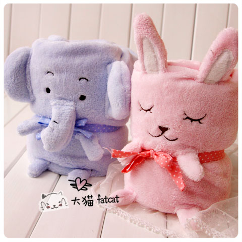 Candice guo plush toy cartoon folded elephant rabbit little coral velvet air conditioning baby blanket birthday stuffed gift 1pc