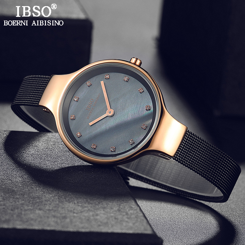 IBSO Women Quartz Watches 7mm Rose Gold Case Wrist Luxury Female Hours Clock Fashion Montre Femme Quartz Watch Relogio Feminino