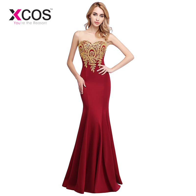 XCOS Sexy Backless Appliques Burgundy Mermaid Lace Long   Prom     Dresses   Royal Blue Black Evening Party   Dress   Vestido de Festa Longo