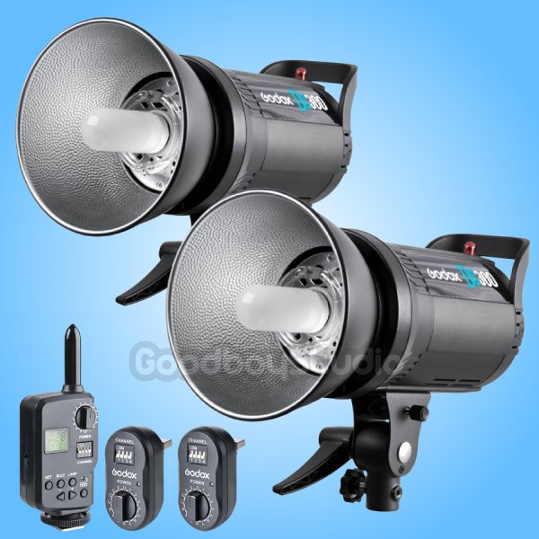 2PCS Godox DS300 300W Compact Studio Flash Strobe Light w/ FT-16 Trigger 110V viltrox fc 16 off camera flash trigger w light control trigger black