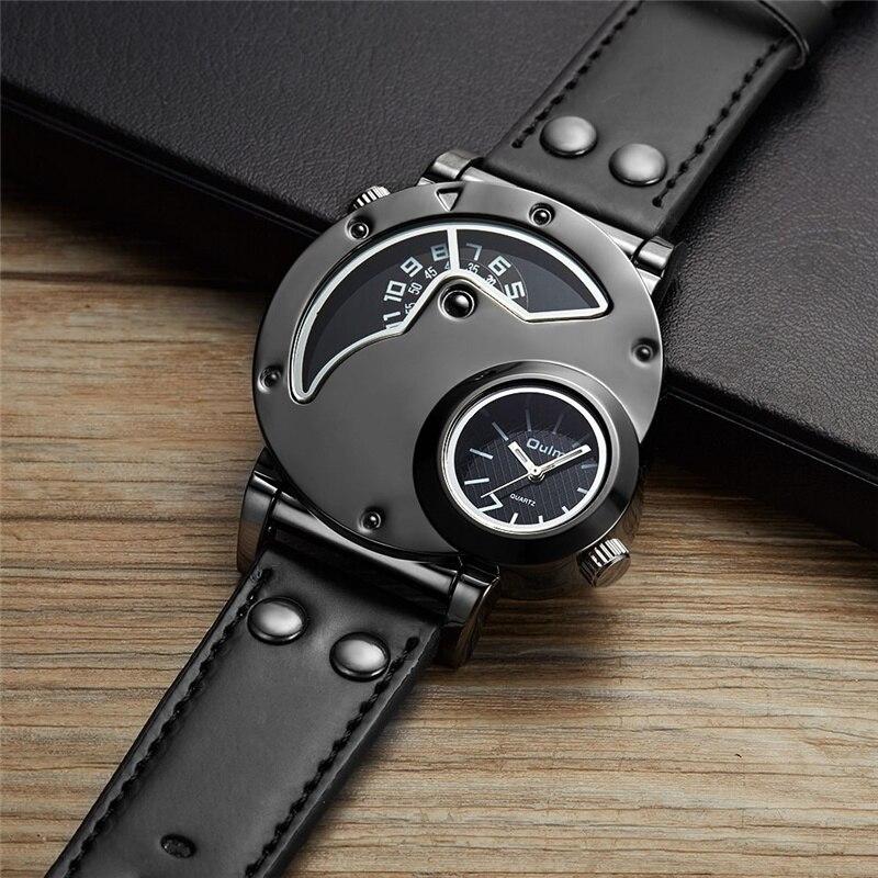 cd7ca08af54 Homens Oulm Relógios Militares Dois Fuso Horário Relógio De Quartzo Único  para Casual Masculino PU de