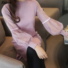 Korean womens new  sleeve lace knitting sweater sexy Women New Fashion Autumn Winter Long Sweaters Tops Xnxee