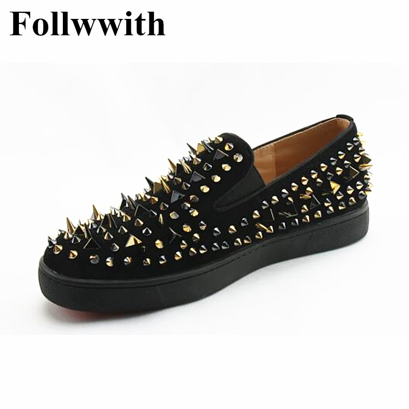 2018 New Low Platform Height Increasing Suede Gold Studs Men Loafers Top Qulaity Slip On Sapatos Sexy Party Wedding Shoes 2015 qulaity mardrid 14 15 3 men