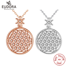 EUDORA 925 Sterling Silver Flower of life Necklace sacred circles big round sterling silver pendant geometrical necklaces CYD419