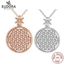 EUDORA 925 Sterling Silver kwiat życia naszyjnik święta koła duże okrągłe srebro wisiorek geometryczne naszyjniki CYD419