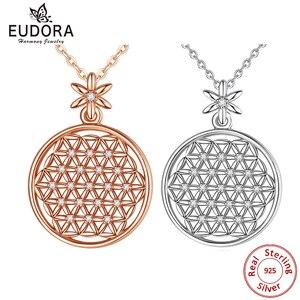 Image 1 - EUDORA 925 スターリングシルバーフラワー · オブ · ライフネックレス神聖な円ビッグラウンドスターリングシルバーペンダント幾何ネックレス CYD419