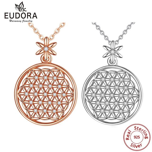 EUDORA 925 スターリングシルバーフラワー · オブ · ライフネックレス神聖な円ビッグラウンドスターリングシルバーペンダント幾何ネックレス CYD419