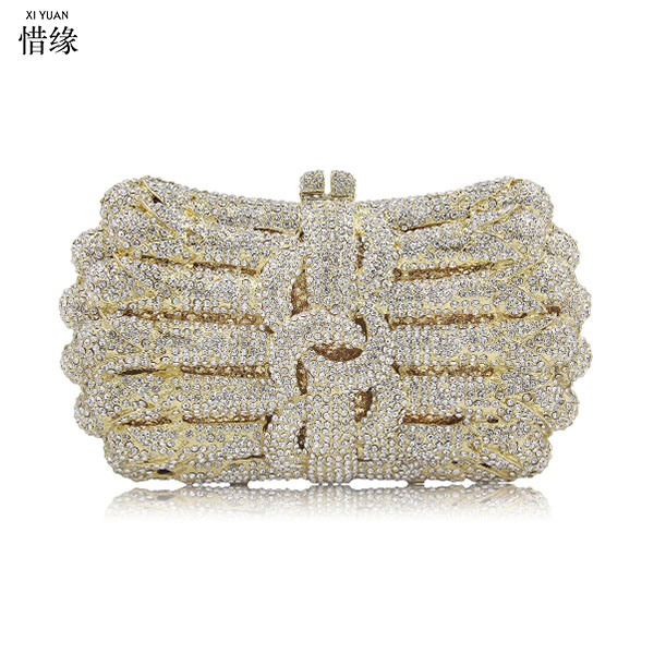 XIYUAN BRAND silver Crystal Flower Women Fashion gold Shoulder Handbag Hardcase Evening Box in green Clutch Crossbody Totes Bag