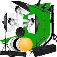 ABESTSTUDIO 3375W Photo Continuous Lighting kit Softbox Boom arm 3 Background & Stand Bulb 5 Light Socket Backdrop Clip