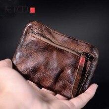 AETOO Simple retro old pure leather key bag mini coin purse zipper small storage female