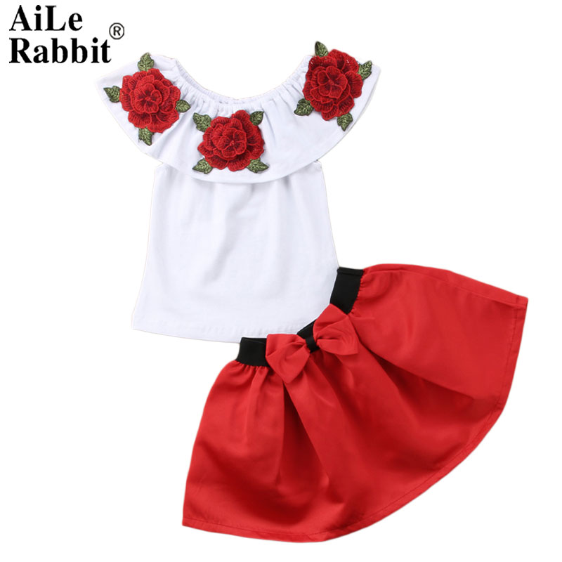 AiLe Rabbit Summer Girls Clothes 2018 New Casual Children Clothing Sets Short Sleeve Shirts Skirt Kids Suit for Girls 2 pieces qianquhui 2017 children s clothing summer girls letter love flower vest short skirt set kids clothes suit