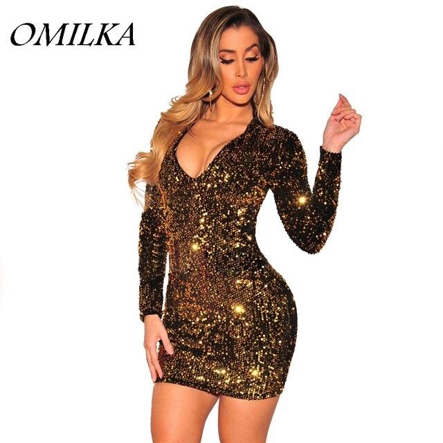 OMILKA 2017 Autumn Winter Women Long Sleeve V Neck Sequin Bodycon Dress  Sexy Gold Glitter Shiny Night Club Party Mini Dress 4b62ebbbc5ad