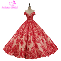 2018 Vestido De Noiva Floor Length Lace Up Off Shoulder Elegant Bridal Gowns Red Lace Ball Gowns Wedding Dresses Amazing Bridal