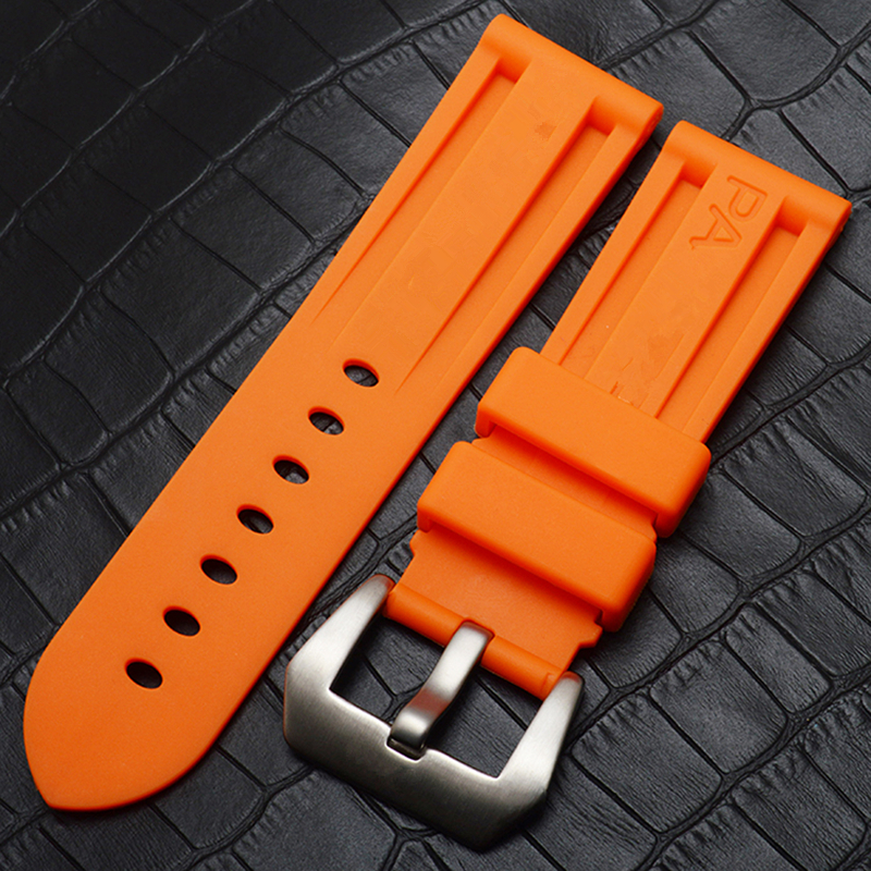 TJP 22m 24mm 26mm Black Orange Blue Red Waterproof Silicone Rubber Watchbands Replace Panerai PAM111 Wristband Watch Strap