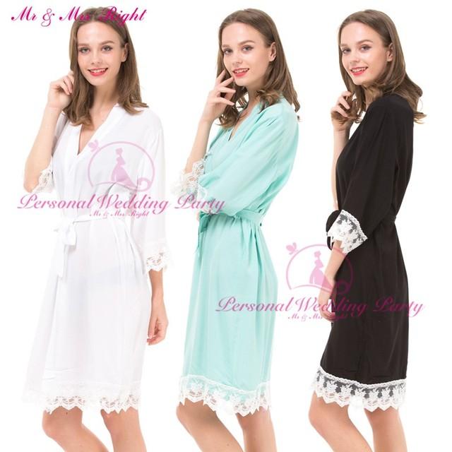 DIY 12 Colores Personalizables Albornoces Kimono Robe Mujeres Novia Dama de Honor de Encaje de Algodón Sexy Vestido Sólido Del Partido Ropa de Dormir Ropa