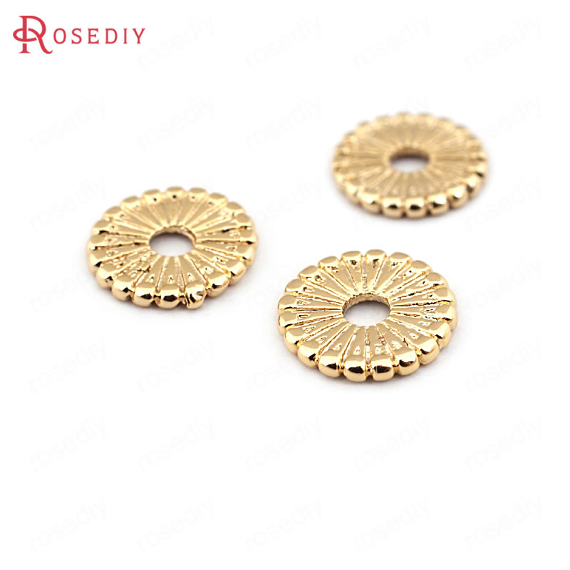 (33615)20PCS 9.5MM Height 1MM 24K Gold Color Brass Spacer Beads High Quality Diy Jewelry Findings Accessories Wholesale